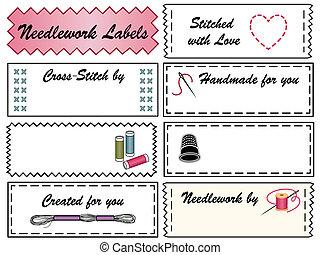 etiquetas, needlework, cosendo