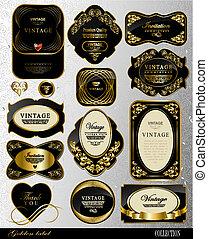 etiquetas, negro, oro