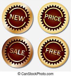 etiquetas, oro, vector, venta, ilustración