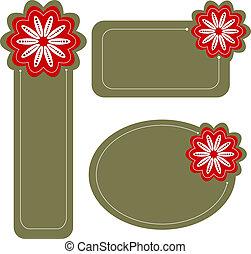 etiquetas, ou, modernos, flor, etiquetas