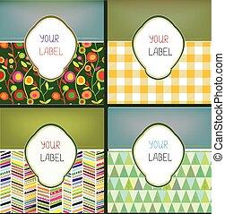 etiquetas, padrão, abstratos, jogo, produtos