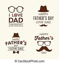 etiquetas, padre, colecciones, logotipo, diseño, día, feliz
