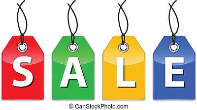 etiquetas precio, venta, brillante