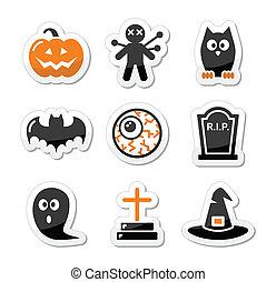 etiquetas, pretas, jogo, dia das bruxas, ícones