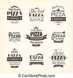 etiquetas, qualidade, jogo, prêmio, pizza