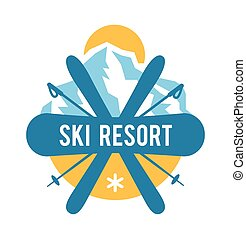 etiquetas, recurso, logotipo, emblemas, esqui, emblemas