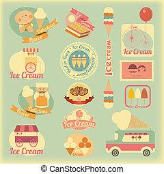 etiquetas, retro, sorvete
