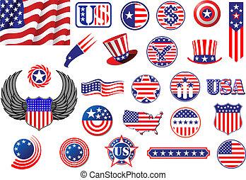 etiquetas, símbolos, norteamericano, insignias, patriótico