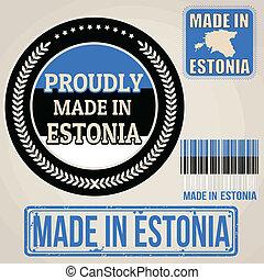 etiquetas, sellos, hecho, conjunto, estonia