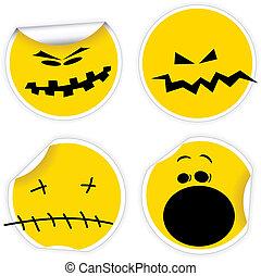 etiquetas, sorrisos, jogo, dia das bruxas, amarela