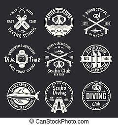 etiquetas, spearfishing, oscuridad, vector, buceo, blanco