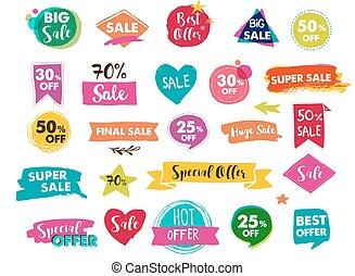 etiquetas, super, modernos, etiquetas, venda, mão, desenhado, adesivos