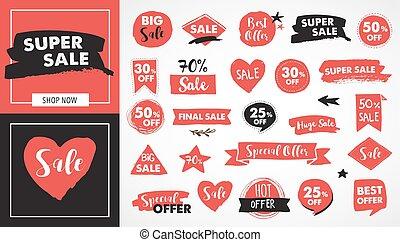etiquetas, super, modernos, etiquetas, venda, mão, desenhado, adesivos, vermelho