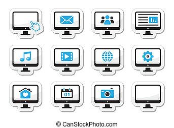 etiquetas, tela, jogo, ícones computador