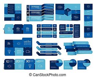 etiquetas, vector, banderas, elementos, infographic., ...