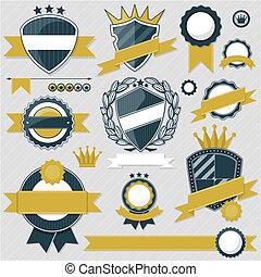 etiquetas, vector, emblema