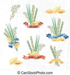 etiquetas, vector, tradicional, sukkot, elementos, colección, holiday), (jewish
