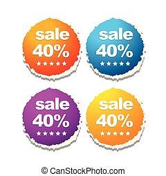 etiquetas, venda, coloridos