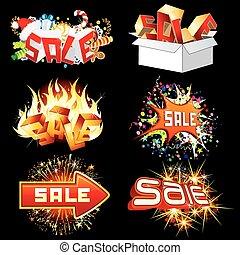 etiquetas, venda, icons., luminoso, pronto, design.