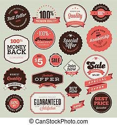 etiquetas, vendimia, conjunto, insignias