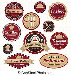etiquetas, vendimia, conjunto, insignias, restaurante