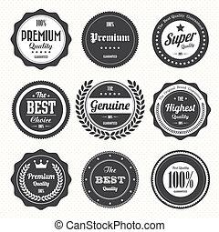 etiquetas, vendimia, conjunto, retro, insignias