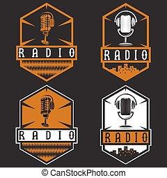 etiquetas, vendimia, micrófono, auriculares, radio