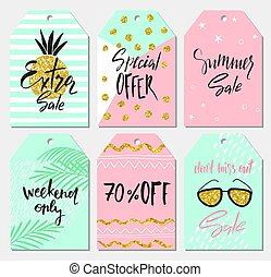 etiquetas, verão, jogo, elementos, illustration., presente, cute, lettering, etiquetas, venda, mão, vetorial, desenho, desenhado, manuscrito, textures.