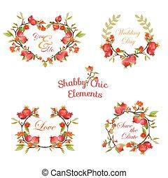 etiquetas, -, vetorial, desenho, floral, scrapbook, bandeiras, pomegranates, seu