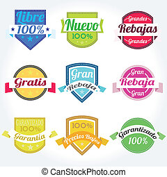 etiquetas, vetorial, jogo, retro, espanhol