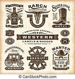 etiquetas, vindima, jogo, ocidental, emblemas