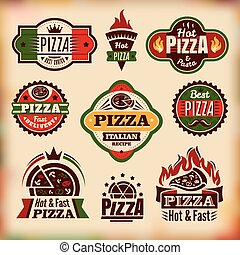 etiquetas, vindima, jogo, vetorial, pizza