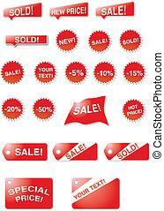 etiquetas, y, estrellas, -, ventas