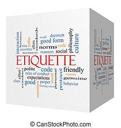 Etiquette 3D cube Word Cloud Concept