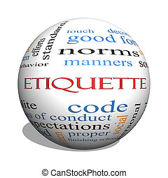 Etiquette 3D sphere Word Cloud Concept with great terms such...