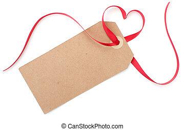 etiquette don, à, coeur, arc