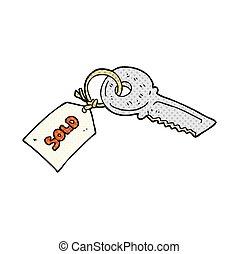 etiquette vendue, dessin animé, clã©