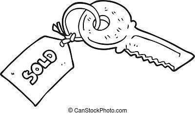 etiquette vendue, noir, clã©, blanc, dessin animé