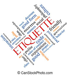 Etiquette Word Cloud Concept Angled - Etiquette Word Cloud...