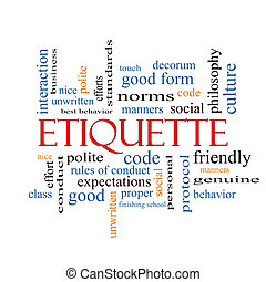 Etiquette Word Cloud Concept with great terms such as...
