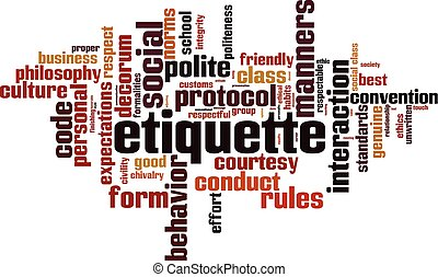 Etiquette word cloud concept. Vector illustration