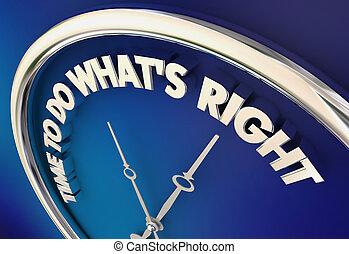 etisk, rättighet, whats, klocka, illustration, val, moralisk, tid, 3