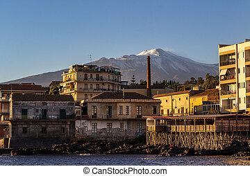 etna, 火山, 光景