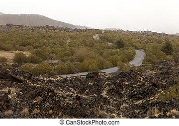 etna, 火山, 独特, 谷, 光景