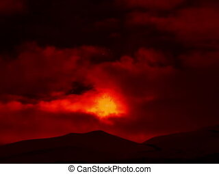 Etna Eruption at night. Sicily, Italy. Time Laps. 4x3