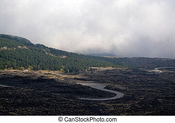 Etna  -  Etna - roads through ancient lava flows