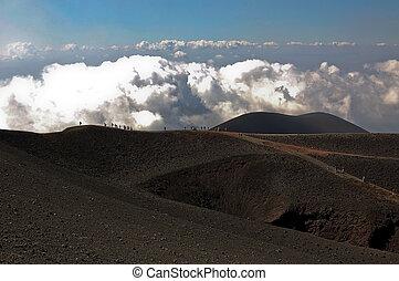 etna, scénique, vues, vulcano