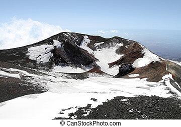etna, volcan, monter, cratère
