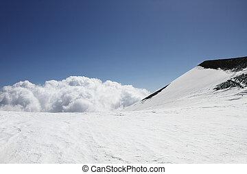 etna, volcan, monter, nuages