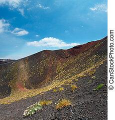 etna, vulkaan, sicilië, italië, aanzicht